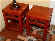 Sale 8080A - Lot 64 - A Pair of Chinese red lacquered square stools or side tables.