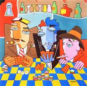Sale 8203A - Lot 44 - Peter Browne (1947 - ) - Card Players 100 x 100cm