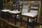 Sale 8317 - Lot 1068 - Set of Three 19th Century  French Mahogany Chairs, with ladder backs & cabriole legs