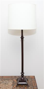 Sale 8341A - Lot 18 - A pair of tall federation style cast metal table lamps with cream shades, total height 93cm