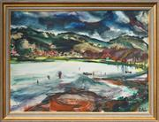 Sale 8506 - Lot 2009 - Uldis Abolins (1923 - ) - The Lake 56 x 77cm