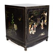 Sale 8599A - Lot 78 - A two door Chinese black lacquered cabinet embossed with traditional female figures in a landscape with painted floral themed top an...