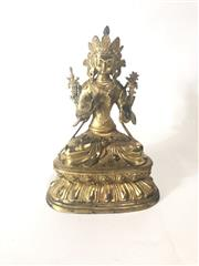 Sale 8747 - Lot 63 - Bronze Bodhisattva On Double Lotus Base H:28cm