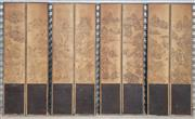 Sale 8956 - Lot 1050 - Meiji Screen of Eight Landscape Panels, with pressed backing - distressed and lacking hinges (each panel H:197 x W:39cm)