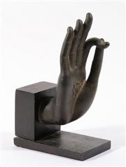 Sale 9003 - Lot 33 - A Cast Metal Buddhist Hand in The Mudra Position Mounted to Timber Base (H 21cm)