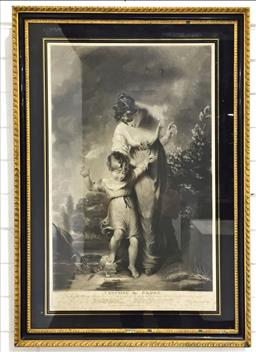 Sale 9126 - Lot 1144 - Early 19th Century Steel Engraving Crossing the Brook, the original painting by H. Thomson, the engraving by W Say, in a black & g...