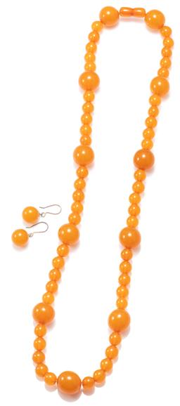 Sale 9164J - Lot 337 - A BUTTERSCOTCH AMBER BEAD NECKLACE WITH MATCHING EARRINGS; necklace composed of 10mm round beads in group of 5 interspersed with 17....