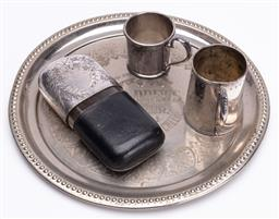 Sale 9185E - Lot 174 - A plated circular tray together with a hipflask and two cups, tray Diameter 31cm