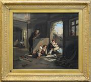 Sale 8254 - Lot 589 - Artist Unknown (19Cth European School) - Playing with Kittens 47.5 x 55cm