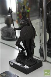 Sale 8256 - Lot 52 - Bronze On Marble Centurion with Spear