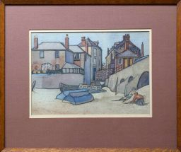 Sale 9150J - Lot 81 - ARTIST UNKNOWN (C20TH SCHOOL) European School - Children down by the shoreline watercolour 22 x 32cm unsigned