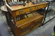 Sale 8368 - Lot 1085 - Tiered Timber Serving Cabinet with Two Drawers & Doors