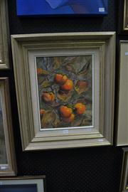 Sale 8441T - Lot 2022 - Olive McAleer (1980s - 1990s) - Study of Persimmon 39 x 29cm