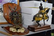 Sale 8563T - Lot 2589 - 2 Coat-of-Arms Wall Hangings, 2 The Armour of the Great Warriors  Figurines (unboxed) with 2 Model Knights on Horseback