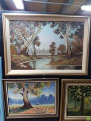 Sale 8587 - Lot 2097 - (2 works) H.Burns, Landscape, oil painting, 60 x 90cm, signed lower right; Bev Young, oil painting.