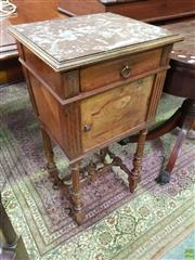 Sale 8634 - Lot 1053 - Early 20th Century French Walnut Bedside Cabinet, with brown marble top, with a drawer, door, turned legs & stretcher base