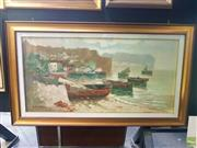 Sale 8645 - Lot 2037 - A. de Simone - Italian Coast Scene with Moored Boats 81 x 140 cm (frame size)