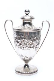 Sale 8710 - Lot 91 - George III Sterling Silver & Chased Sugar Urn