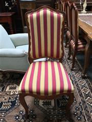 Sale 8882 - Lot 1058 - Set of Ten French Style Beech Dining Chairs, including two armchairs, in yellow & red striped fabric & cabriole legs