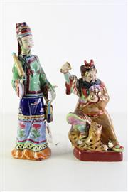 Sale 8944T - Lot 652 - Chinese ceramic polychrome figures (2) (H31cm & 24cm, some losses to fingers)