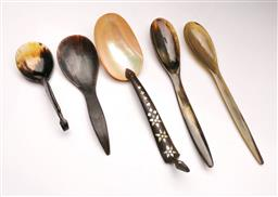 Sale 9098 - Lot 46 - A collection of Tribal serving utensils to include horn and mother of pearl examples L19 - 32cm,