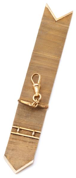 Sale 9124 - Lot 451 - AN ANTIQUE 18CT GOLD FOB; 20mm wide close mesh fob applied with an arch mount attached with a  swivel clasp to chevron terminals, le...