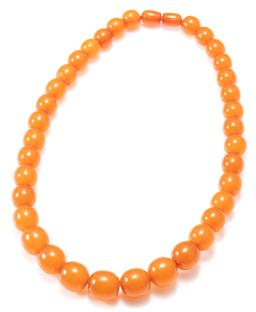 Sale 9164J - Lot 472 - A GRADUATED BUTTERSCOTCH AMBER COLLAR; 10 - 15mm off round beads to screw amber clasp, length 45cm, wt. 41.64g.