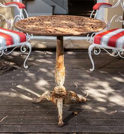 Sale 9160H - Lot 11 - An iron tripod table with geometric pierced design and rustic patination throughout, ex Parterre garden, Height 72cm x Diameter 67cm
