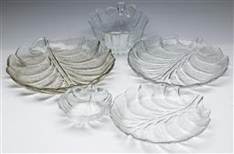 Sale 9164 - Lot 407 - Collection of Orrefors glassware inc two bowls (Dia:21.5cm) together with three trays (Dia:32cm)