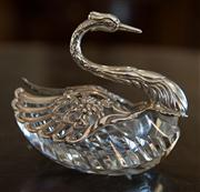 Sale 7981B - Lot 52 - European silver swan, the wings opening to reveal a heavy hand cut crystal bowl