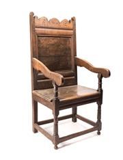 Sale 8342A - Lot 11 - An 18th Century oak Wainscot chair, H 122 x W 54 x D 52cm