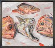 Sale 8294 - Lot 576 - Lewis Miller (1959 - ) - A Still Life with Fish Heads, 1995 36 x 41cm