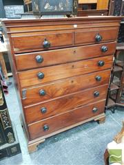 Sale 8416 - Lot 1022 - Late Georgian Mahogany Chest of Seven Drawers in two sections with rustic top ebonised handles & bracket feet (some faults)