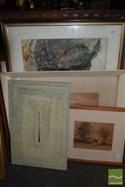 Sale 8497 - Lot 2062 - Group of (6) Assorted Artworks Including Original Watercolours, Decorative Prints, framed, various sizes