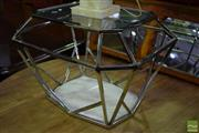 Sale 8523 - Lot 1019 - Chrome Coffee table with Marble Base