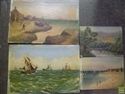 Sale 8557 - Lot 2010 - Artist Unknown (Continental School) (4 works) Coastal Township; Tall Ships at Sea; Beach Scene; Country Cottage and Bridge, oils