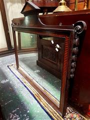 Sale 8693 - Lot 1030 - Late 19th Century Mahogany & Marquetry Georgian Style Mirror, the rectangular landscape format mirror with temple style top and shel...