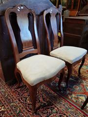 Sale 8792 - Lot 1096 - Two 18th Century Style High Back Chairs, with shaped splats, cream calico seats & cabriole legs
