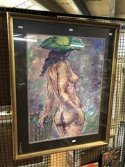 Sale 8845 - Lot 2059 - Adele Eyres (1935 - ) - Standing Nude with Green Hat, 1987 74 x 54cm