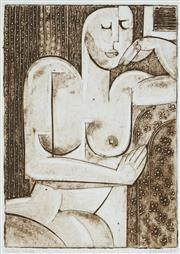 Sale 8901A - Lot 5097 - Nigel Gillings - Seated Nude 21 x 15 cm