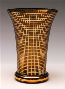 Sale 9119 - Lot 101 - A gilt chequered pattern Vase (H 21cm)