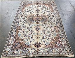 Sale 9151 - Lot 1416 - Handknotted pure wool & silk inlayed Persian nain (252 x 160cm)
