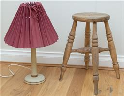 Sale 9165H - Lot 136 - A painted column form table lamp with pleated shade together with a timber stool. Height of lamp 52cm