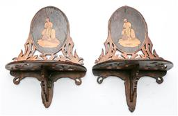 Sale 9164 - Lot 228 - A pair of antique timber inlaid  wall sconces (L:25cm)