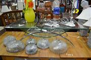 Sale 8019 - Lot 1065 - An Interesting Chrome and Curved Glass Coffee Table