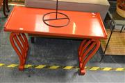 Sale 8138 - Lot 921 - Lacquered Japanese Red Side Table