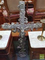 Sale 8416 - Lot 1039 - Large Cast Iron Crucifix, with Climbing Roses & Convolvulus