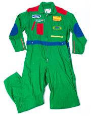 Sale 8550F - Lot 244 - Two Benetton Formula One pit-stop crew overalls, one blue and the other green.