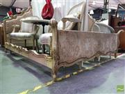 Sale 8545 - Lot 1065 - French Style Double Bed Frame with Upholstered Head and End