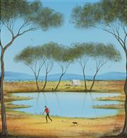 Sale 8722 - Lot 573 - Kym Hart (1965 - ) - Camped by the Billabong 32 x 29cm
